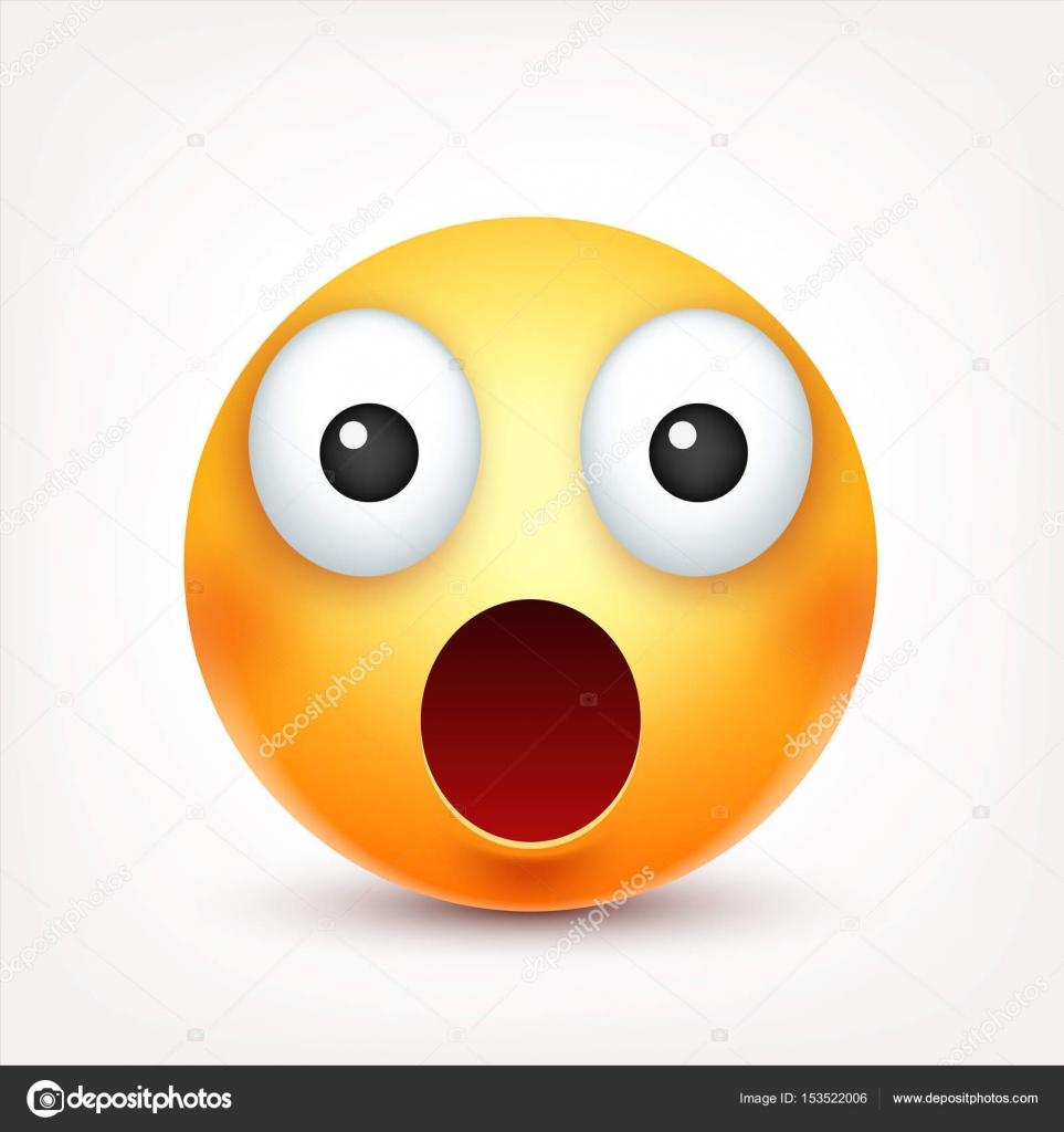 Emoticone Drole smiley, emoticon émerveillé. face jaune avec les émotions