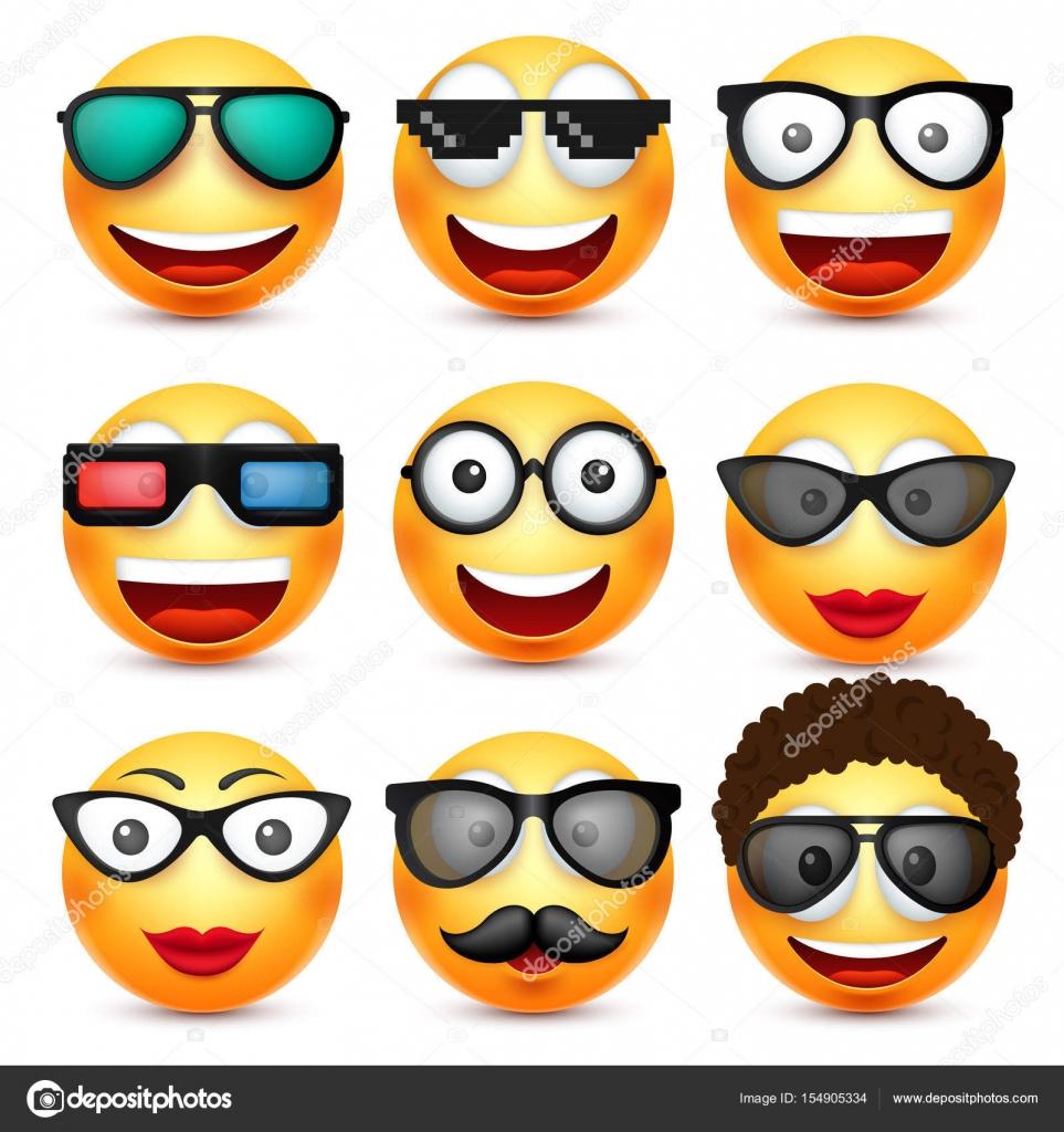 smiley mit brille l chelndes emoticon gelbes gesicht mit. Black Bedroom Furniture Sets. Home Design Ideas