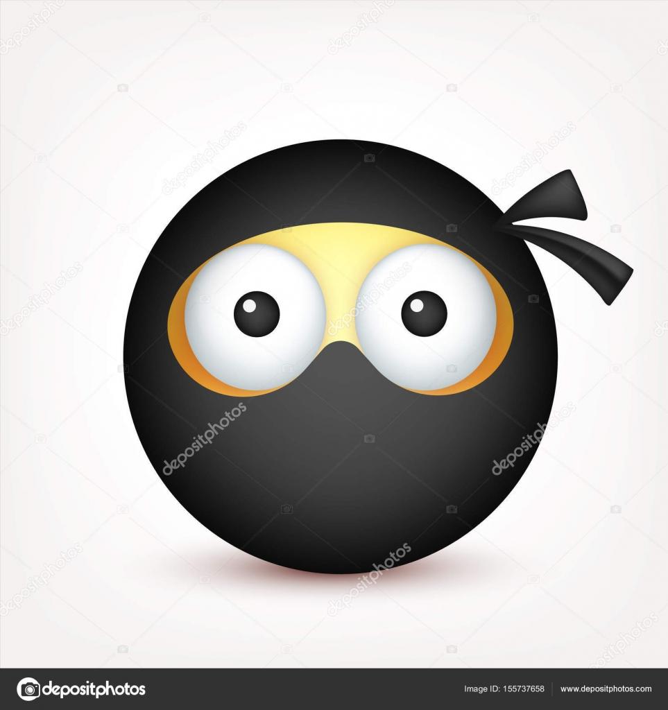 Emoticone Drole smiley, emoticon ninja. face jaune avec les émotions. expression du