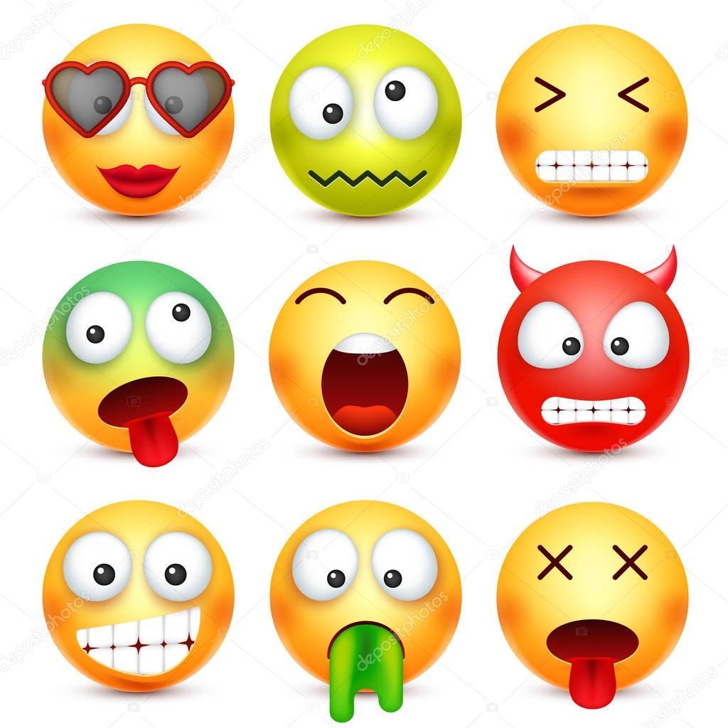 foto de Smiley série Émoticône vert rouge heureux triste malade fatigué Face jaune avec les
