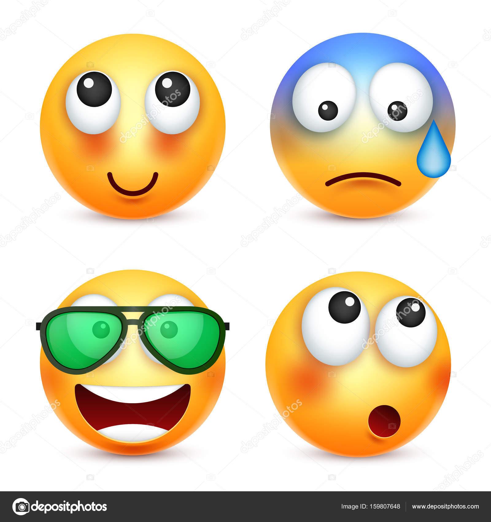 Smiley emoticon insieme faccia gialla con le emozioni