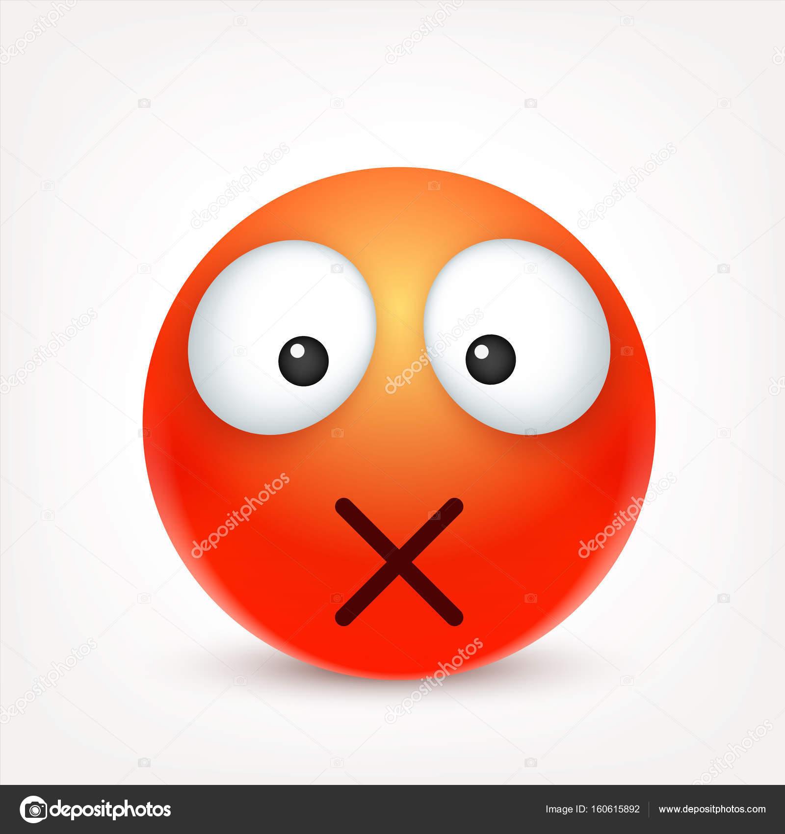 Smiley Emoticon Cara Roja Con Las Emociones Expresión Facial