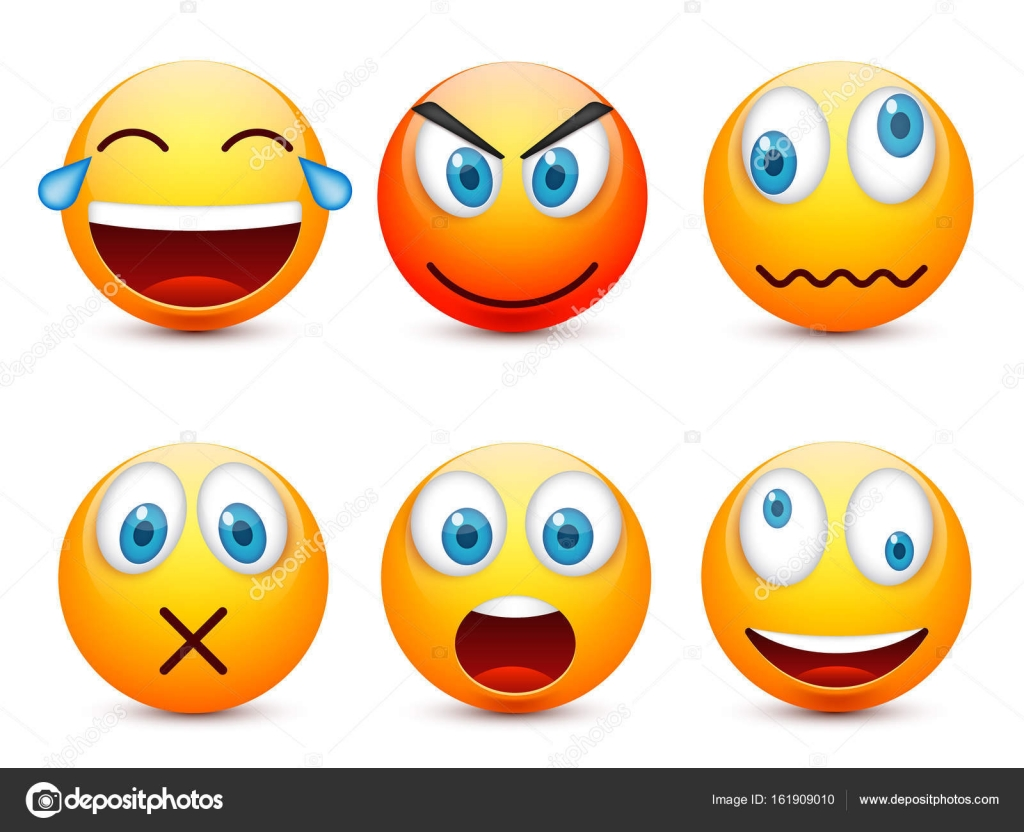 smiley with blue eyes,emoticon set. yellow face with emotions