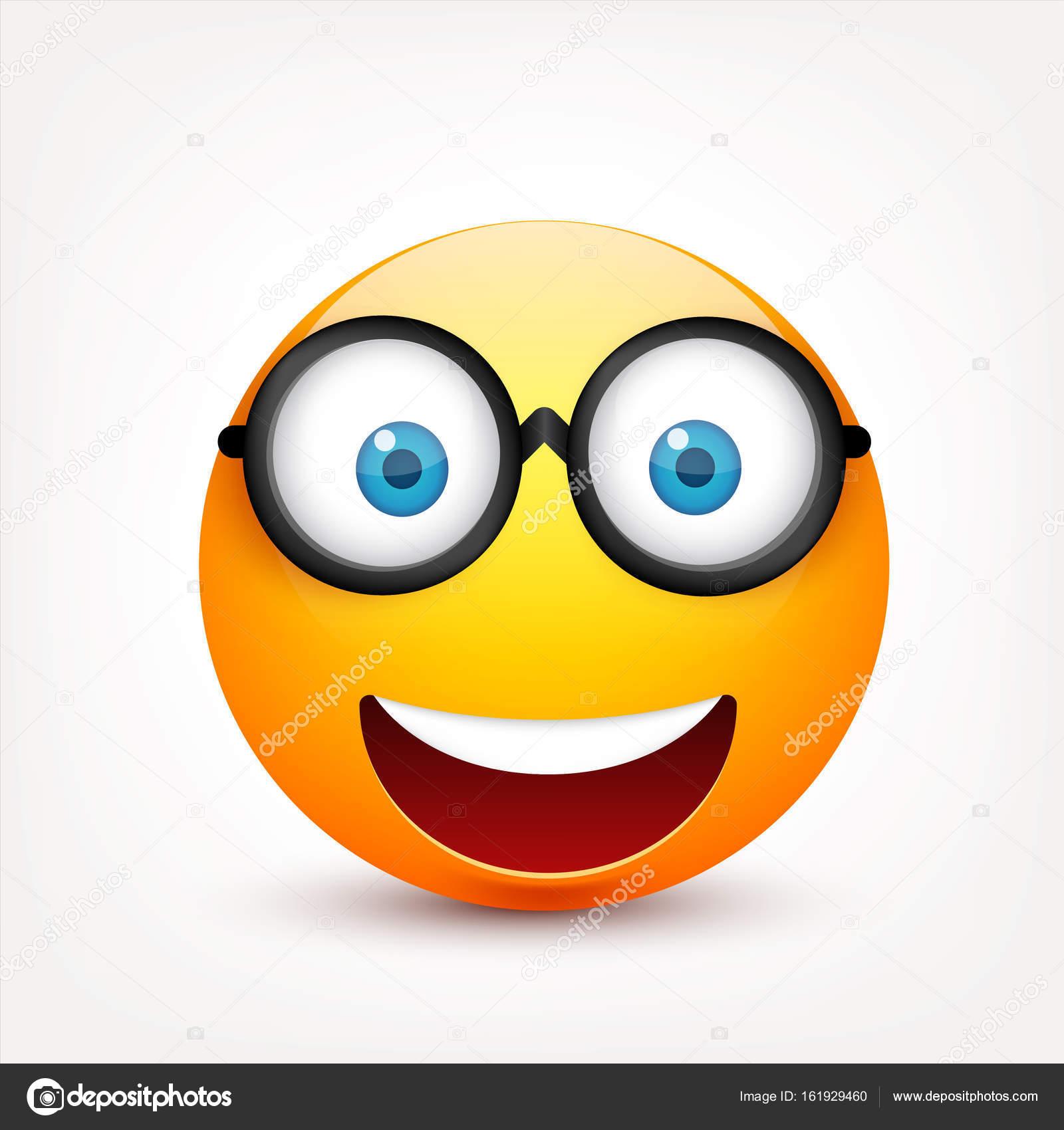 Smiley Com Olhos Azuis Emoticon Rosto Amarelo Com Emoções