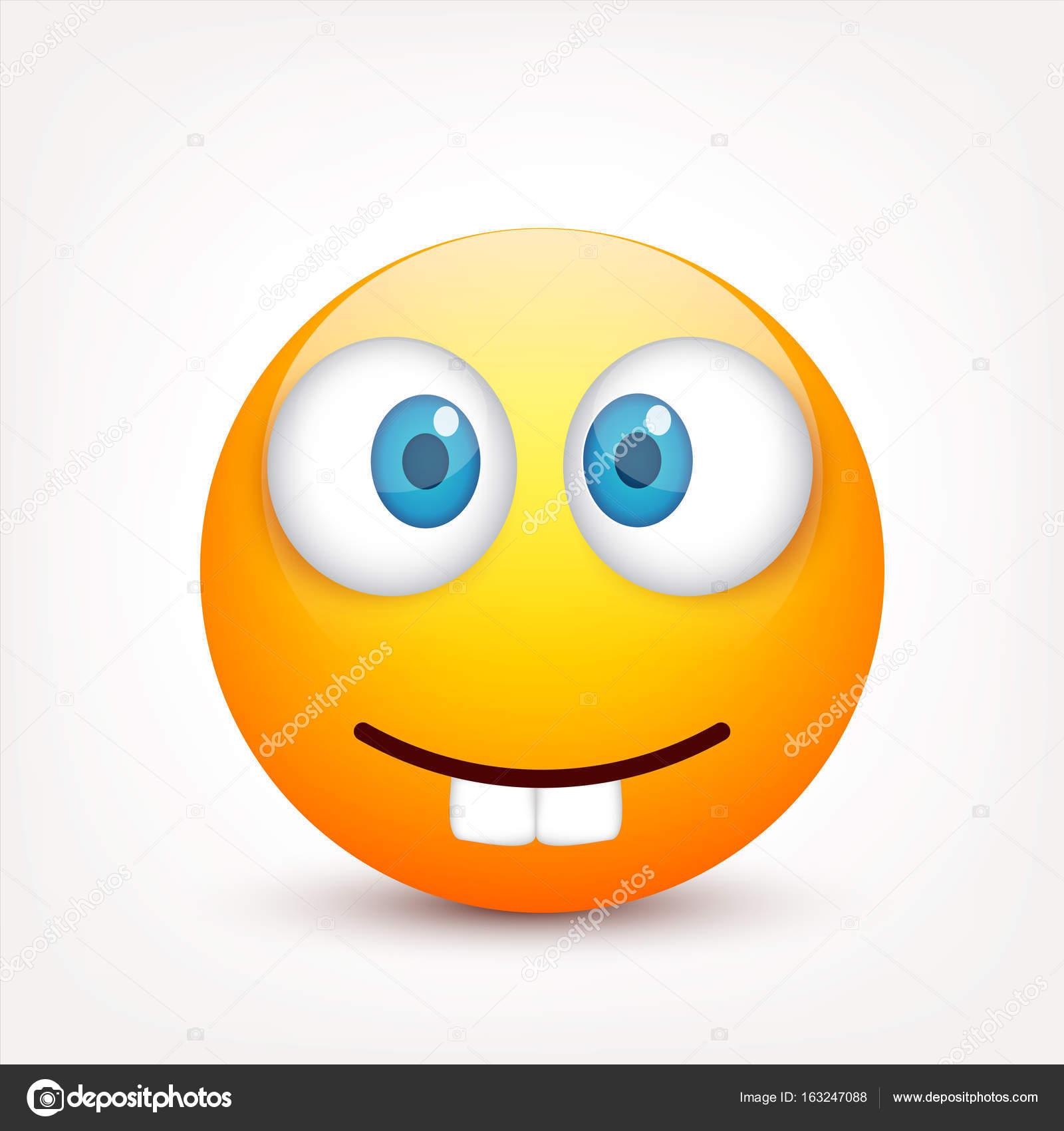 Smiley con gli occhi azzurri emoticon faccia gialla