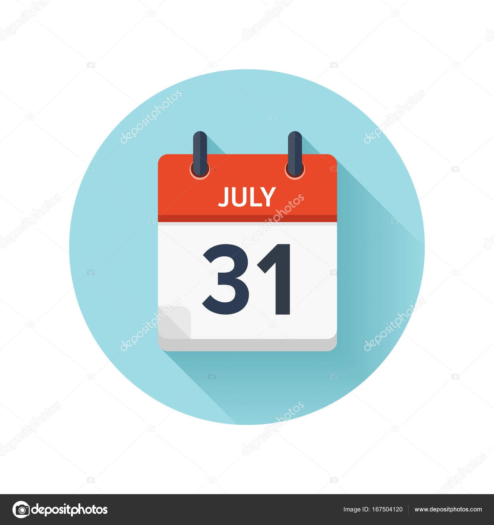 Calendario 31 Luglio.31 Luglio Vector Piatto Ogni Giorno Sull Icona Calendario