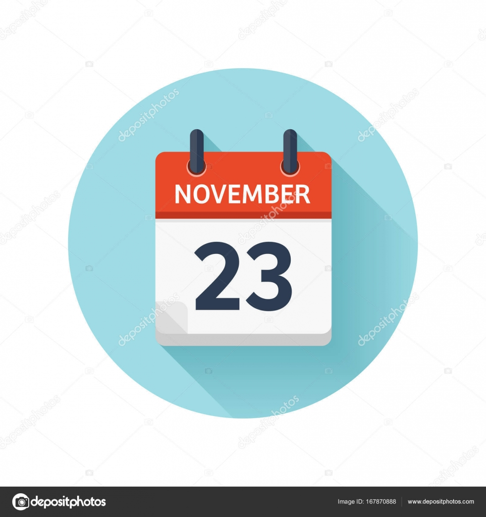 November 23 Vector Flat Daily Calendar Icon Date And Time Day