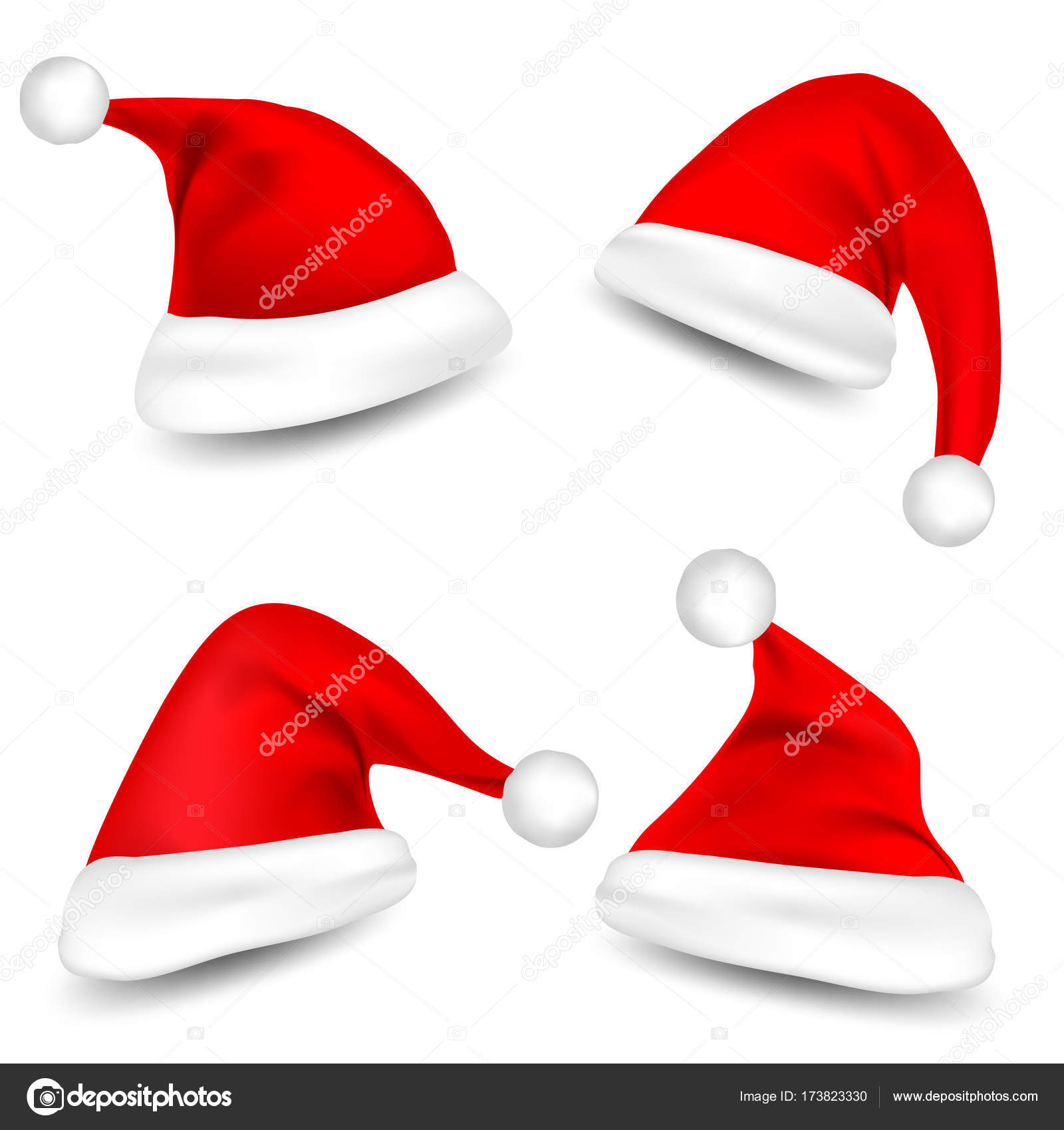 Christmas Santa Claus Hats With Shadow Set. New Year Red Hat Isolated on White  Background. Vector illustration.– stock illustration a7121255d183
