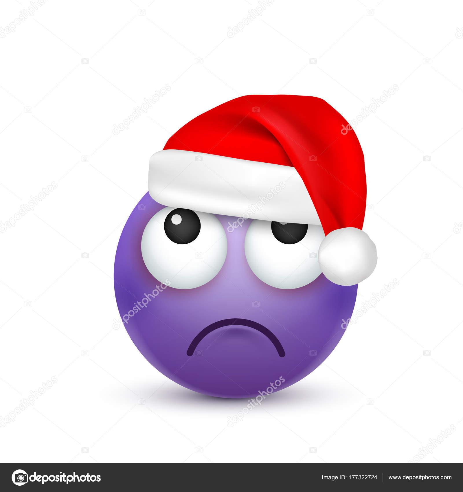 Smiley emoticon emoji viola viso con emozioni e cappello di