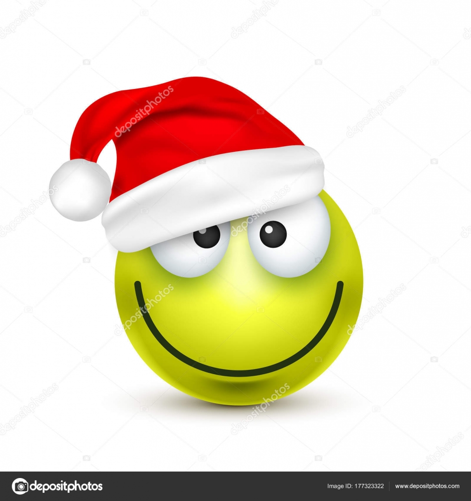 smiley emoticon green emoji face with emotions and christmas hat