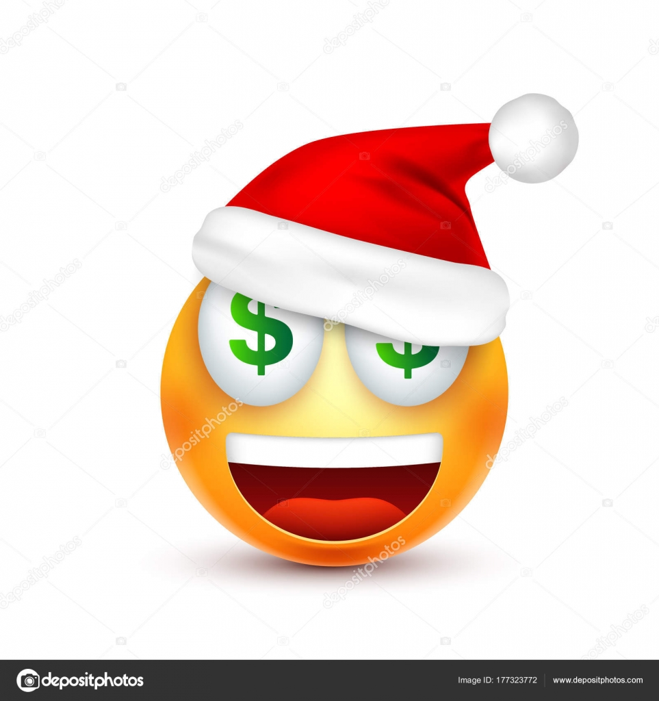 smileyemoticon yellow emoji face with emotions and christmas hat new year - Christmas Smiley Faces