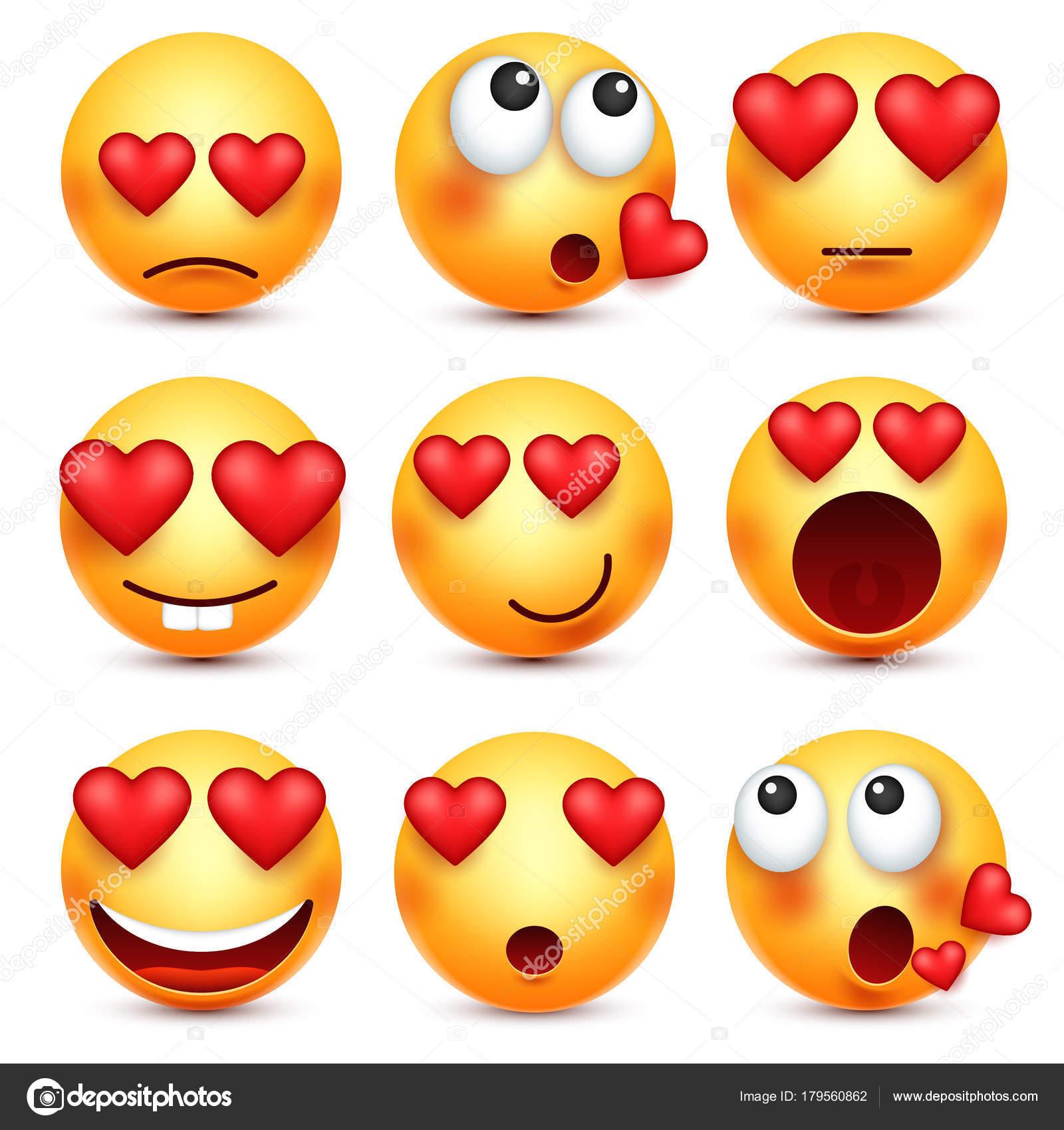 Valentinstag Smiley Emoji Mit Herz Liebe Februar 14 Stockvektor