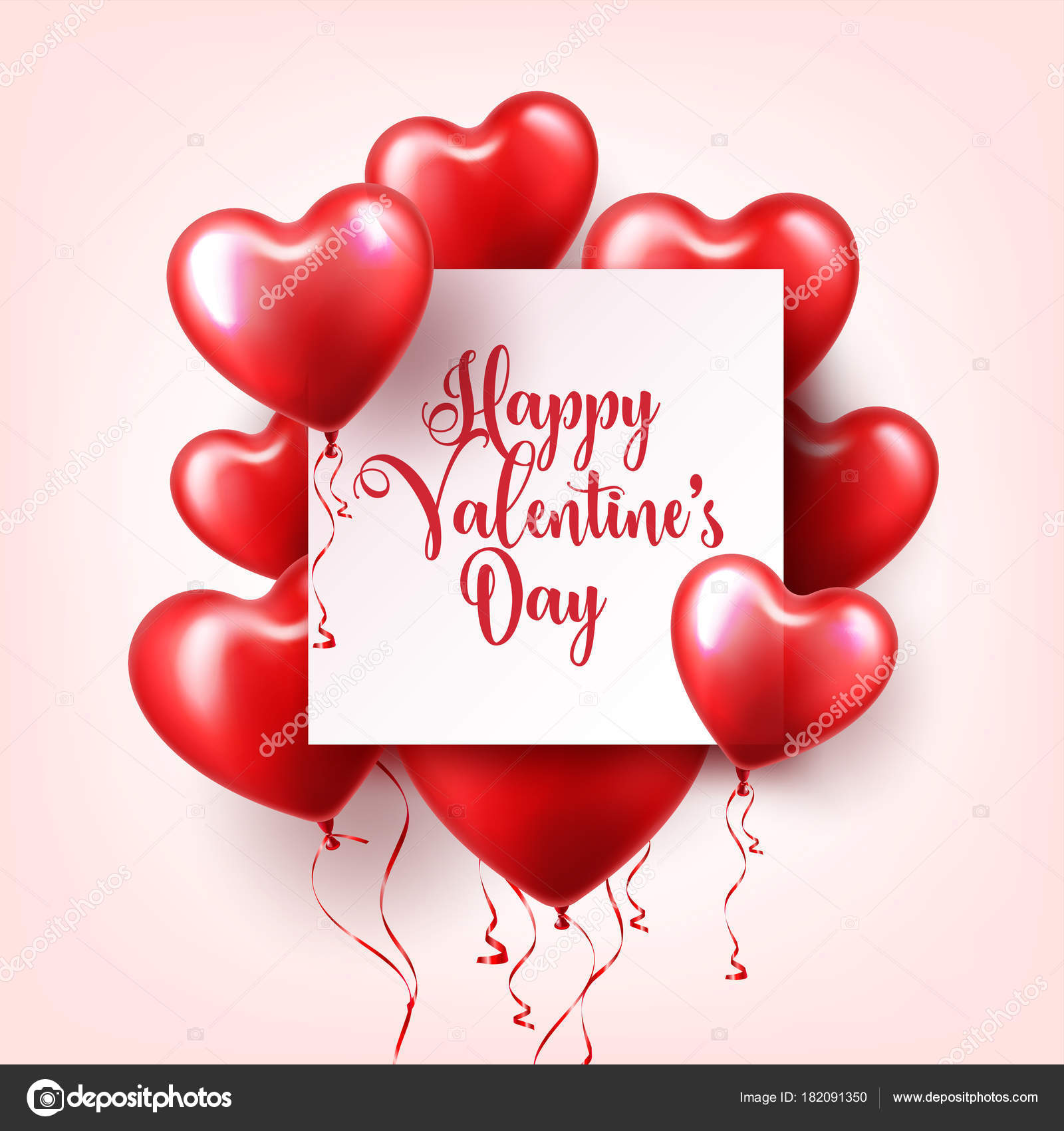 Valentines Day Abstract Background With Red 3d Balloons Heart Shape