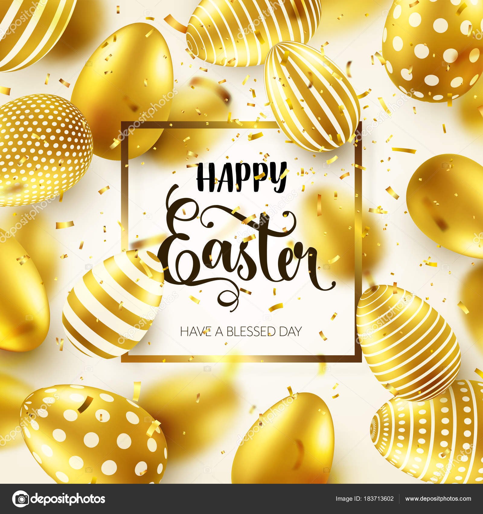 Easter Golden Egg With Calligraphic Lettering Greetings