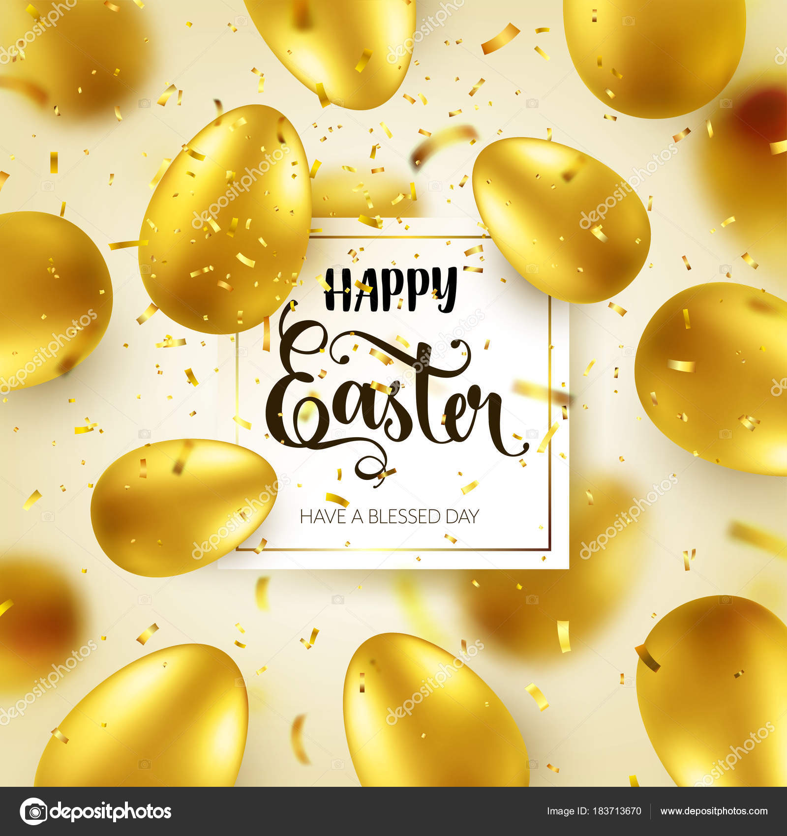 Easter Golden Egg With Calligraphic Lettering Greetings Confetti