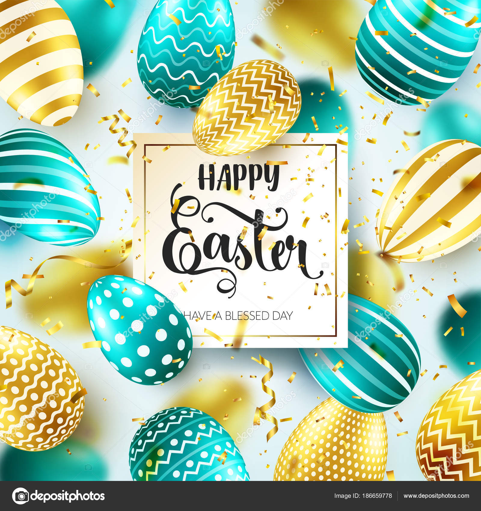 Easter golden green egg with calligraphic lettering greetings easter golden green egg with calligraphic lettering greetings confetti and ribbonaditional m4hsunfo