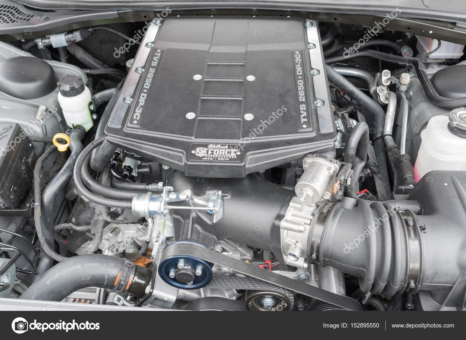 Dodge Challenger Rt Engine On Display Stock Editorial Photo