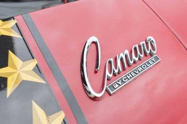 Chevrolet Camaro emblem on display