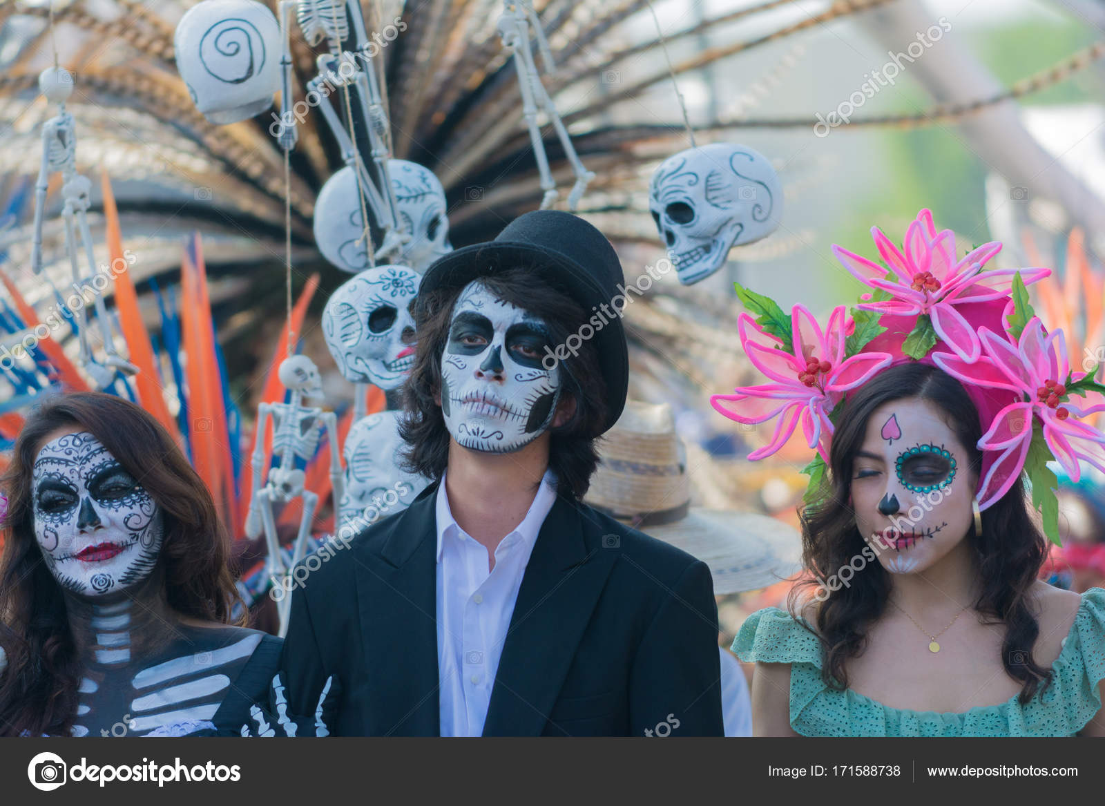 9286eed7edd Participants in traditional clothing during Day of the Dead – Stock ...