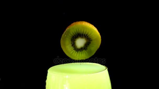 Kiwi fruit splashing slow motion