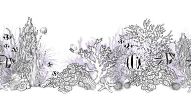 Seamless horizontal border with underwater scenery and tropical fishes.