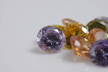 Close up shot of beautiful color crystal diamond - like beads for jewelry
