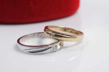 Macro shot of gold ring jewelry on an isolated background