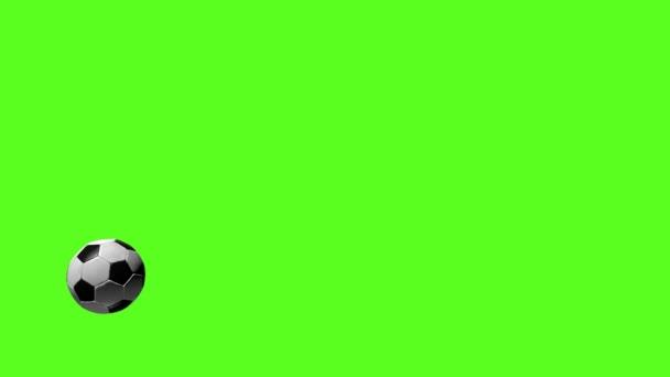 Fotbal, kterou 3d animace létání fotbal míč na zelené Chroma klíč.