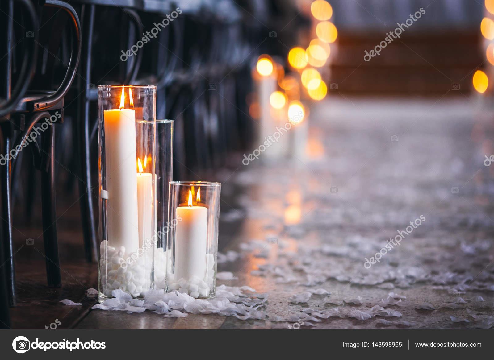 Hochzeit Dekoration In Der Kirche Kerzen Hintergrund Unscharf