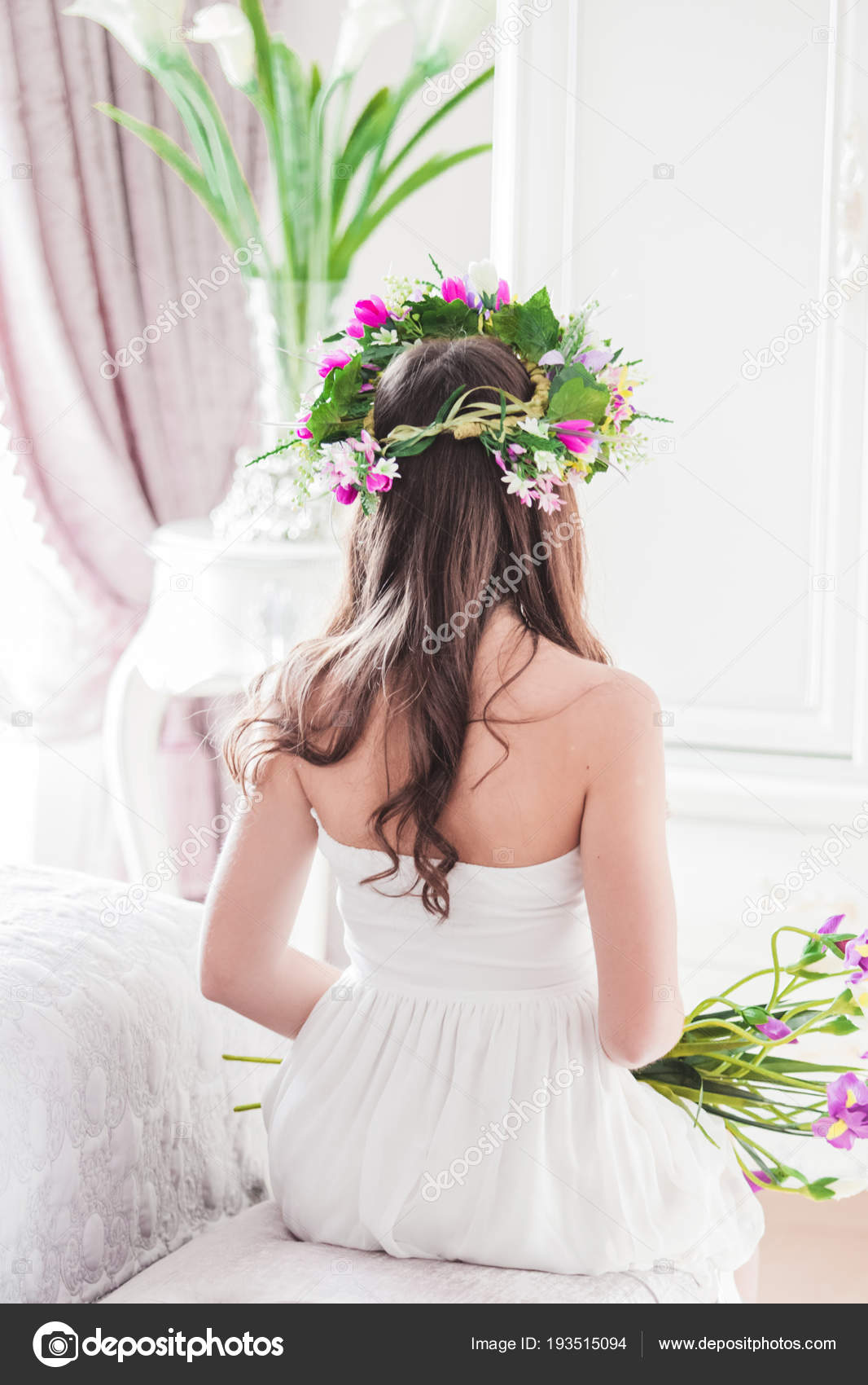 Bride Her Back Sits White Dress Bed Wreath Flowers Her Stock Photo