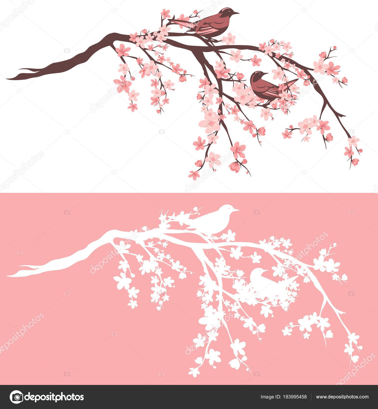 Birds On Blooming Sakura Tree Vector Design Set Stock Vector