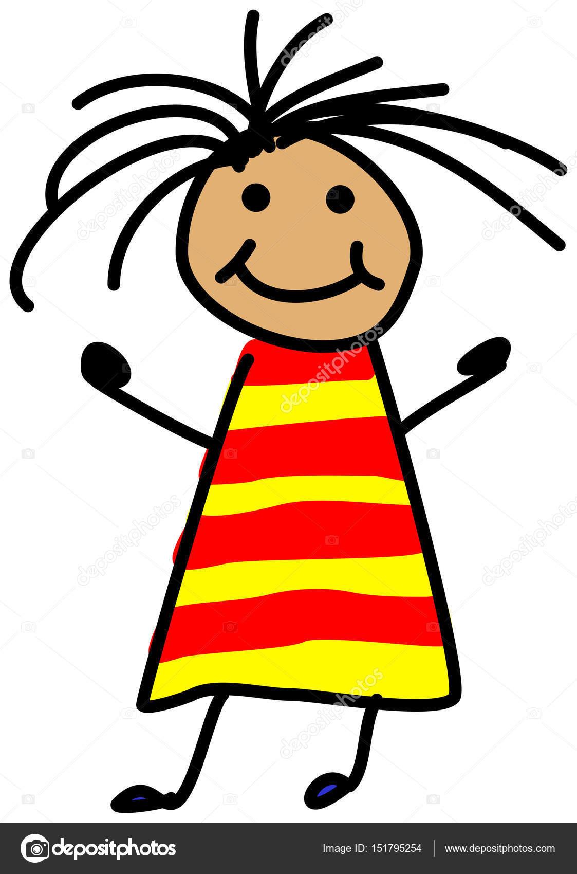 Illustration De Stickman Enfant Simple Dessin De Fille Avec