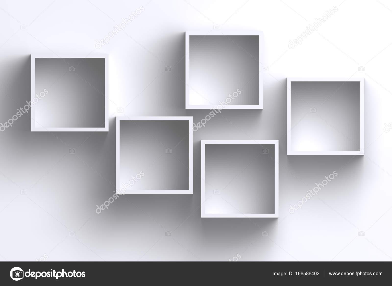 Empty white square frame shelf boxes on blank wall — Stock Photo ...