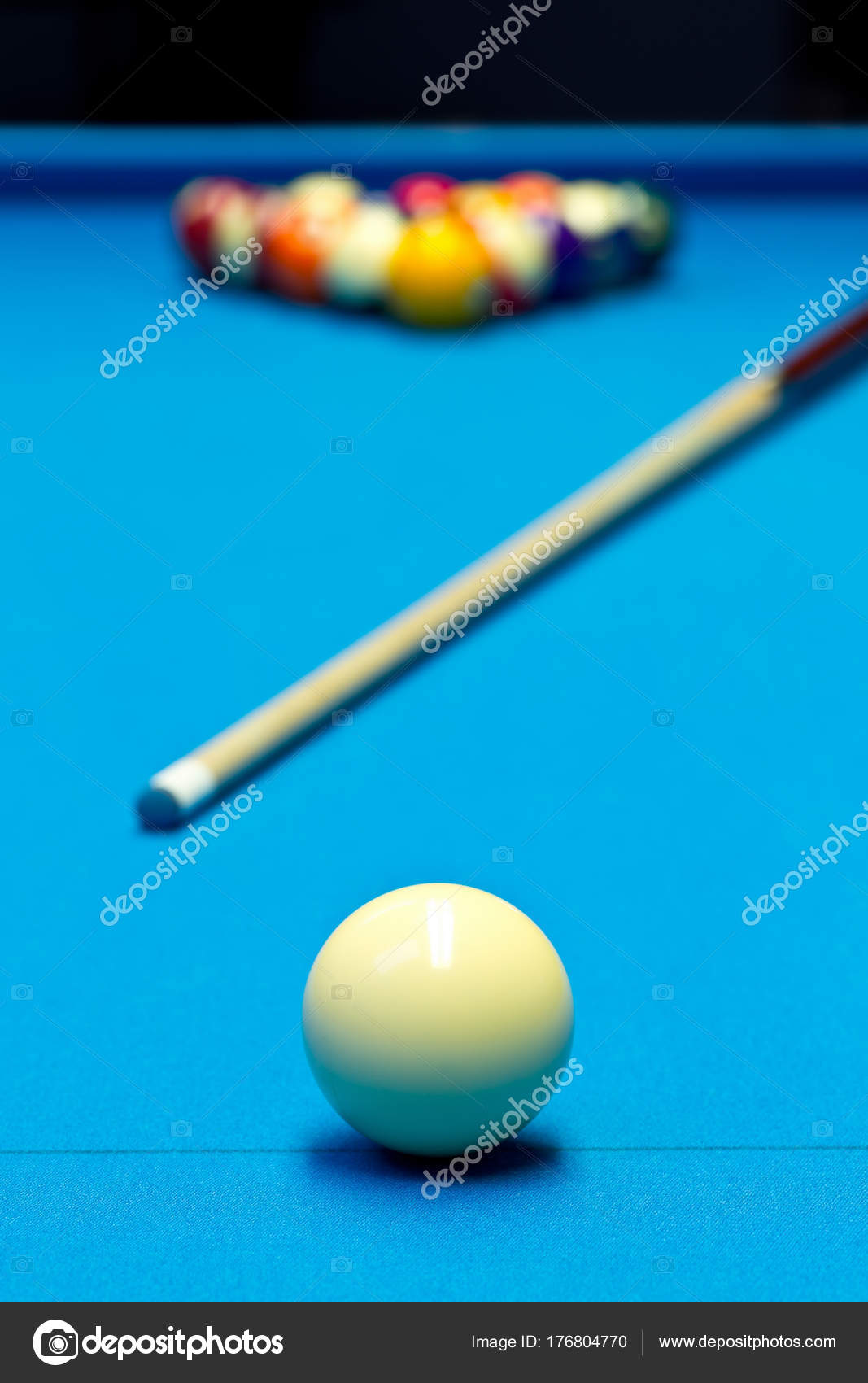 Billiard pool game eight ball setup with cue on billiard table ...