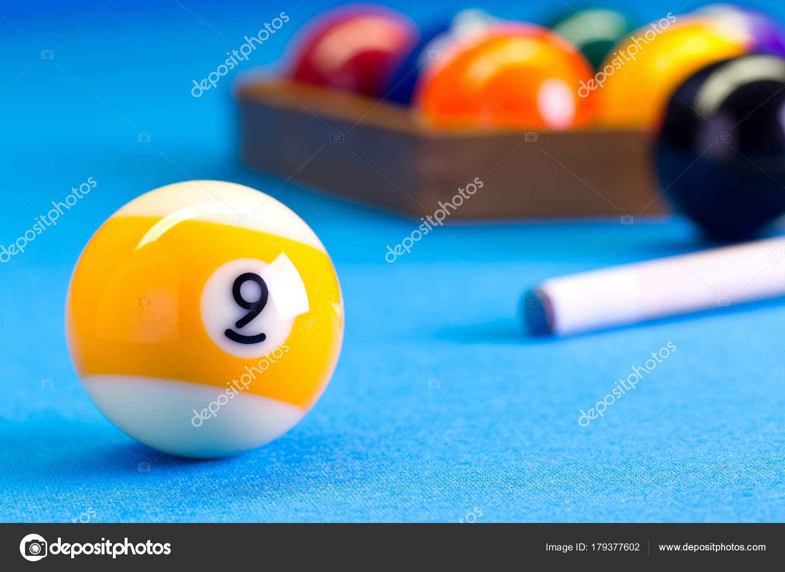 Billiard pool game nine ball with cue on billiard table — Stock ...