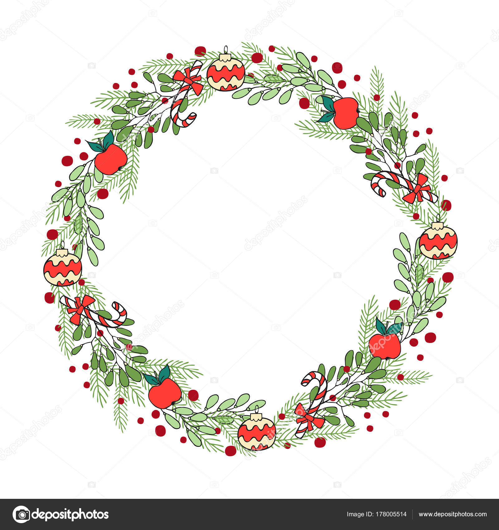 hand drawn winter holiday wreath a template of greeting card de