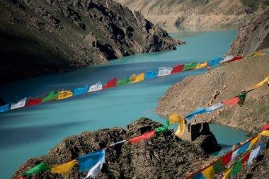 Lungta above Mountain Lake Himalayas Tibet