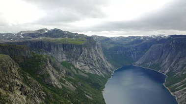View to fjord and water from drone in Norway