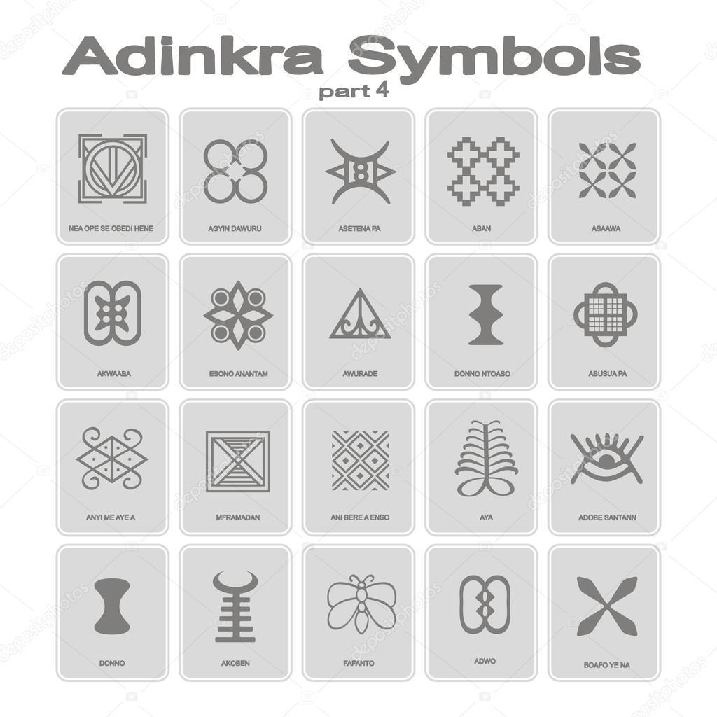 Set of monochrome icons with adinkra symbols stock vector set of monochrome icons with adinkra symbols stock vector biocorpaavc Images