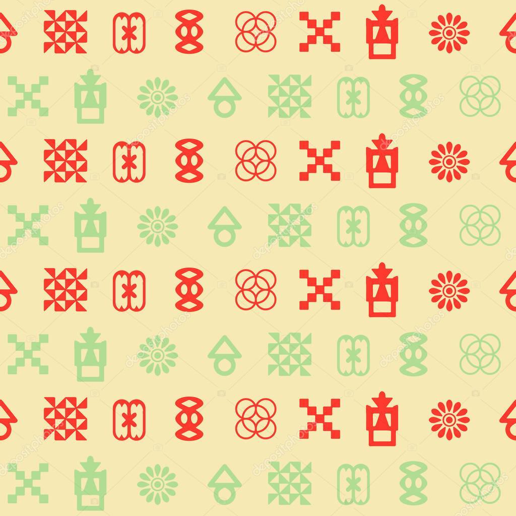 Seamless Pattern With Adinkra Symbols Stock Vector Drutska