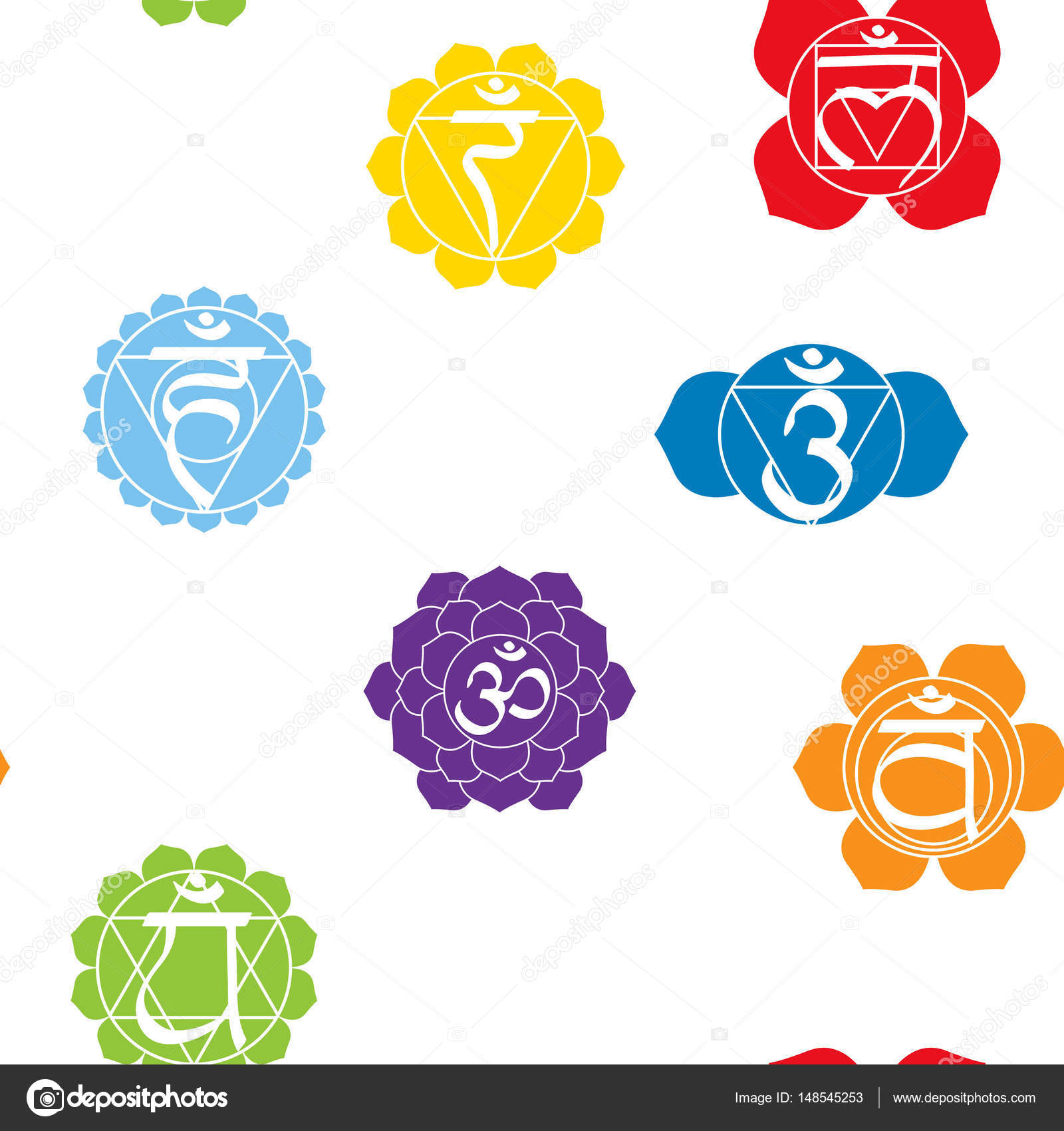 Seamless Pattern With Names Of Chakras In Sanskrit Stock Vector