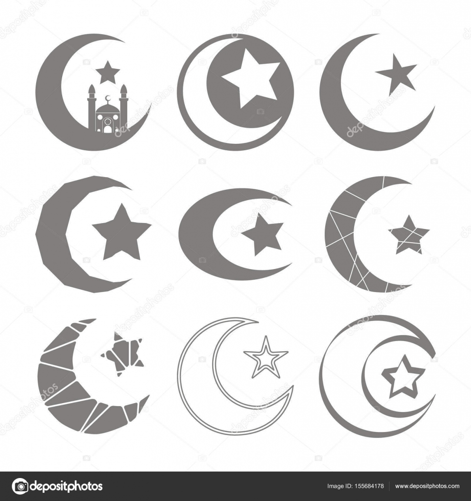 Set of monochrome icons with symbol of islam crescent moon with star set of monochrome icons with symbol of islam crescent moon with star stock vector biocorpaavc Gallery