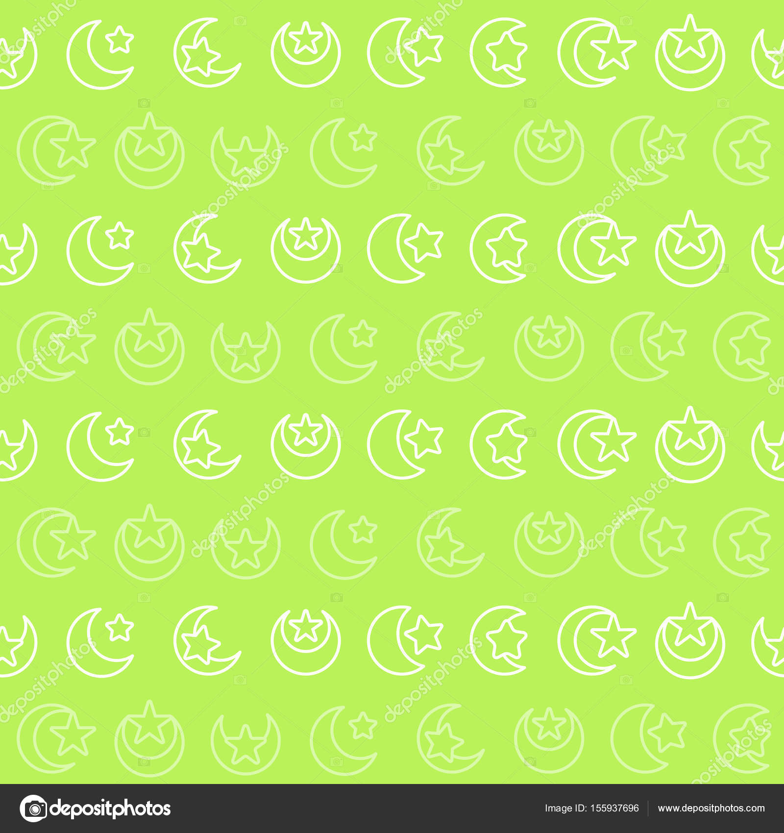 Seamless Pattern With Symbol Of Islam Crescent Moon With Star