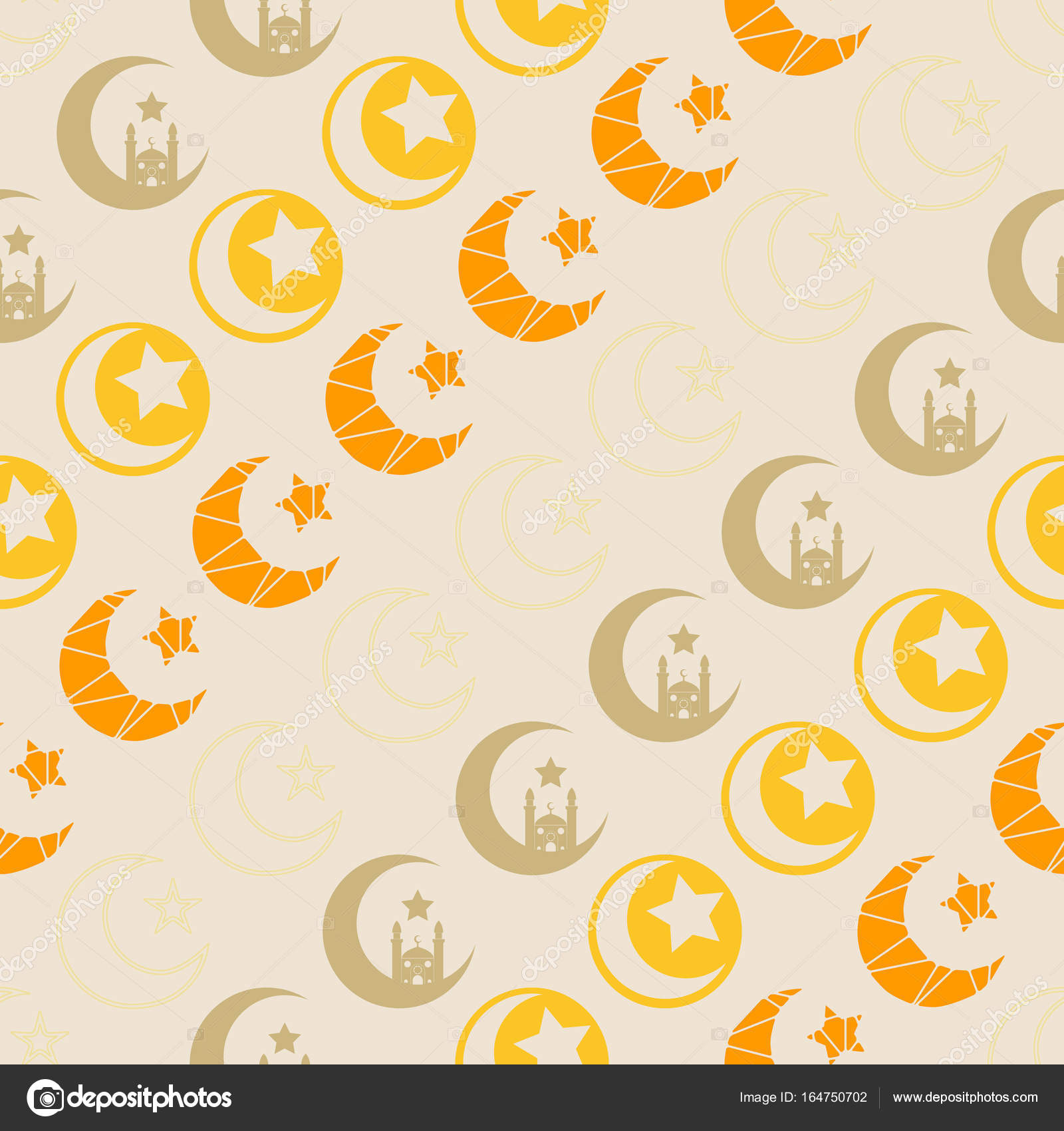 Seamless Pattern With Symbol Of Islam Crescent Moon Stock Vector
