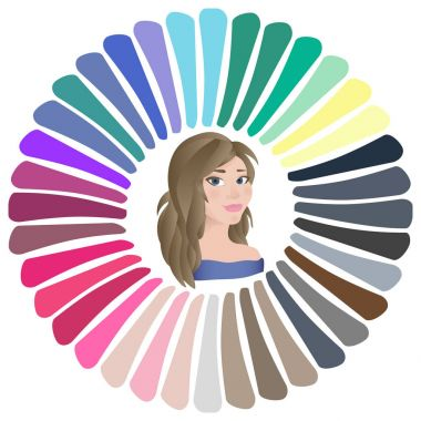 Stock vector summer type of female appearance. Face of young woman. Seasonal color analysis palette