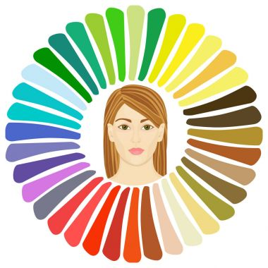 Stock vector spring type of female appearance. Face of young woman. Seasonal color analysis palette