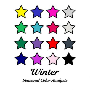 Stock vector color guide. Seasonal color analysis palette for winter type. Type of female appearance