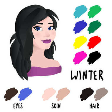 Stock vector winter type of female appearance. Face of young woman. Seasonal color analysis palette