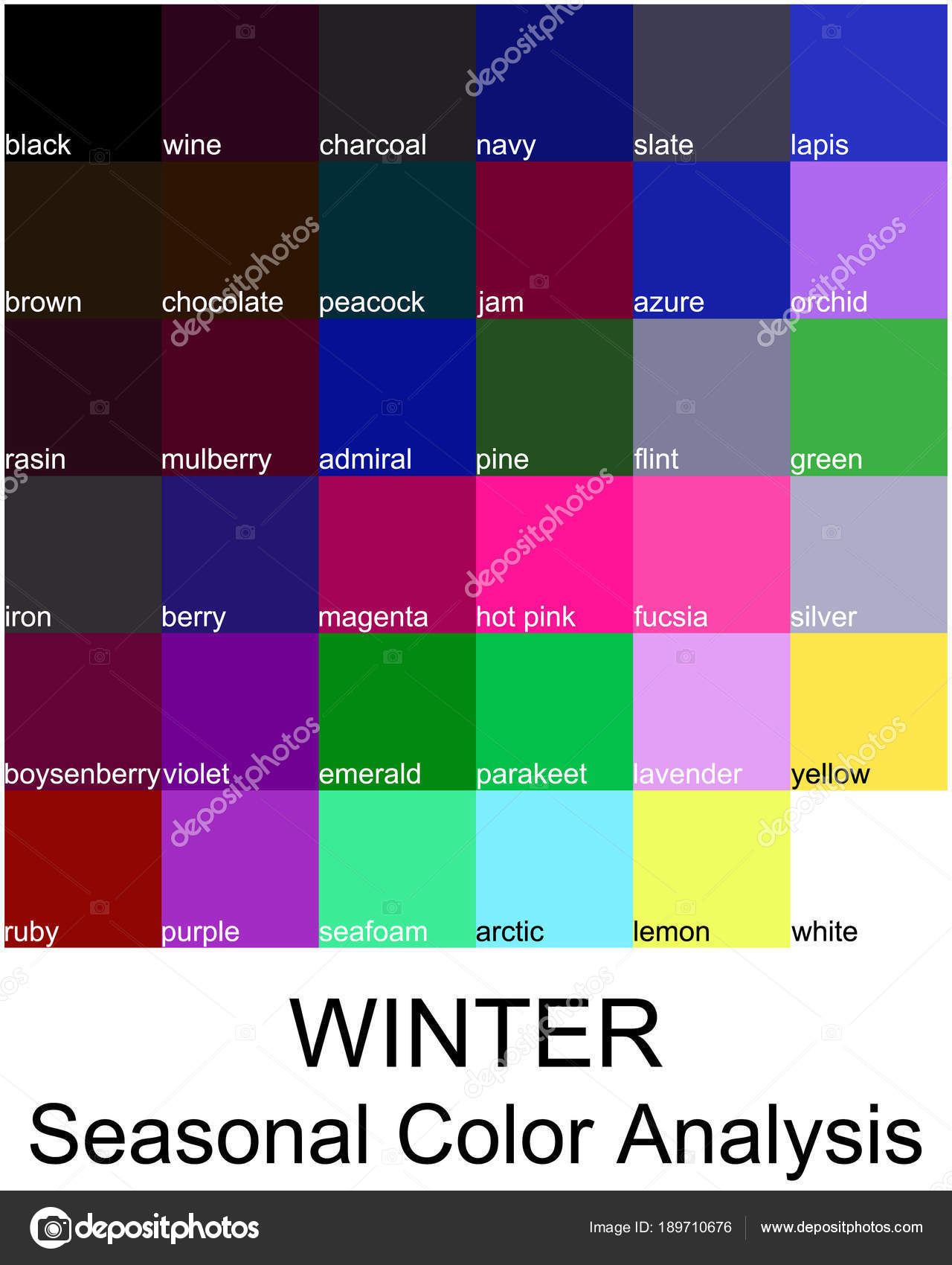 Stock Vector Color Guide Names Seasonal Analysis Palette
