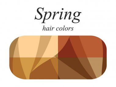 Stock vector seasonal color analysis palette for spring type of female appearance. Hair colors for spring type.